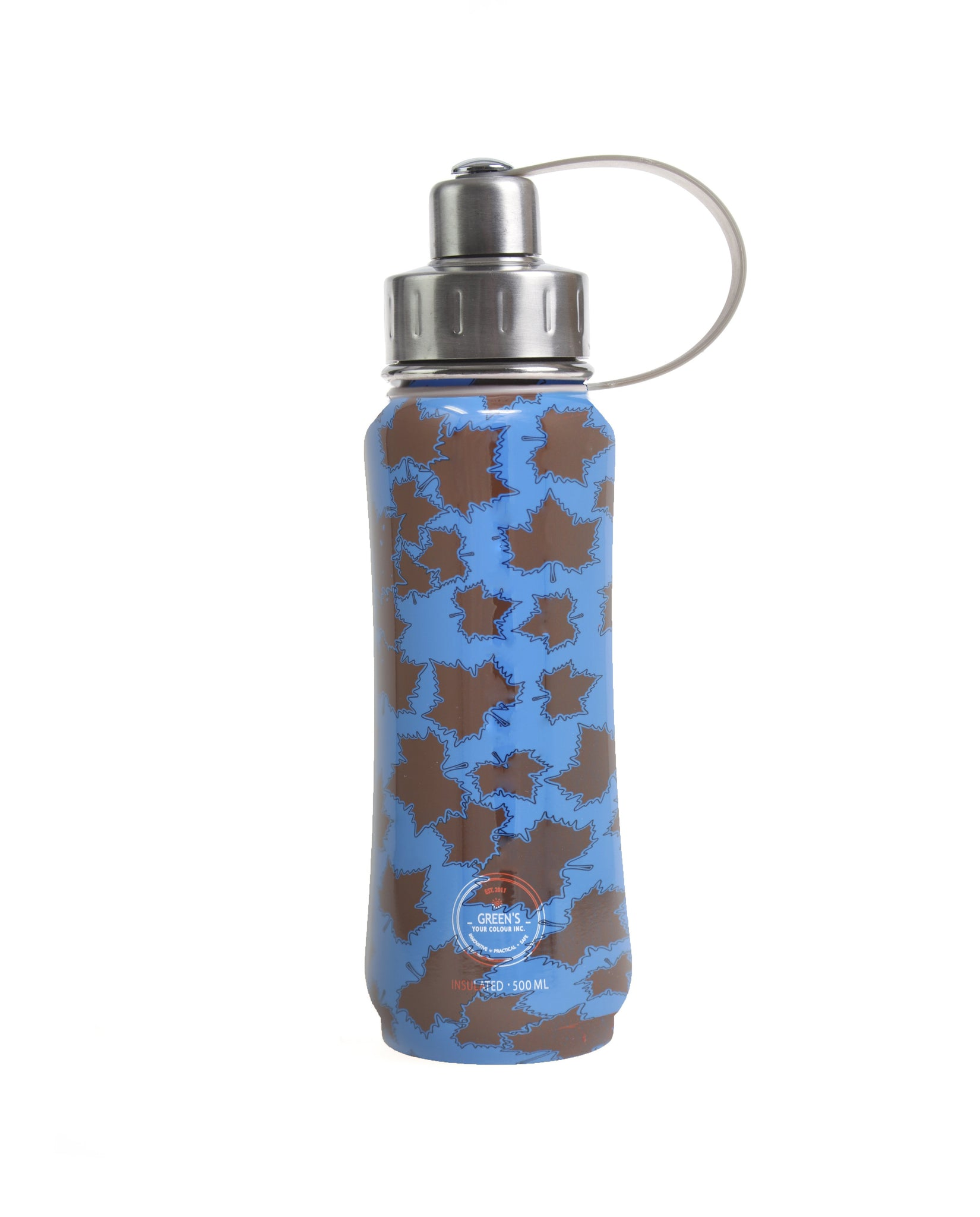 500 ml Blue Eh Canada insulated vacuum stainless steel leak-proof water bottle carrying handle silver lid