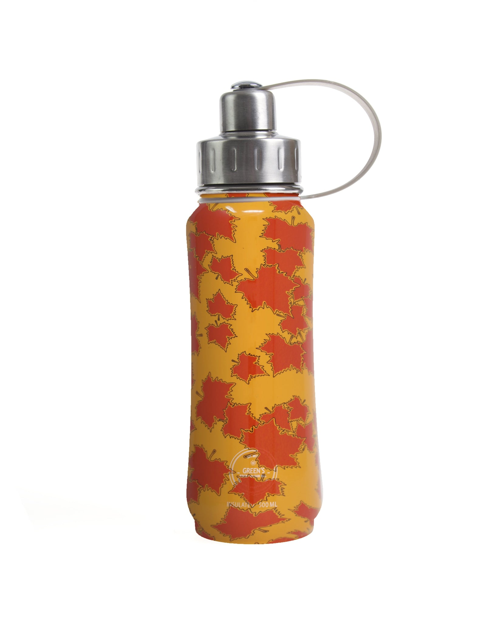 500 ml Orange Eh Canada! insulated vacuum stainless steel leak-proof water bottle carrying handle silver lid