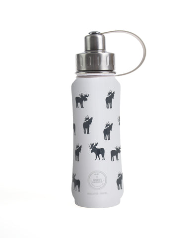 500 ml White Moosed Up insulated vacuum stainless steel leak-proof water bottle carrying handle silver lid