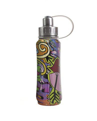500 ml NYC Graffiti insulated vacuum stainless steel leak-proof water bottle carrying handle silver lid