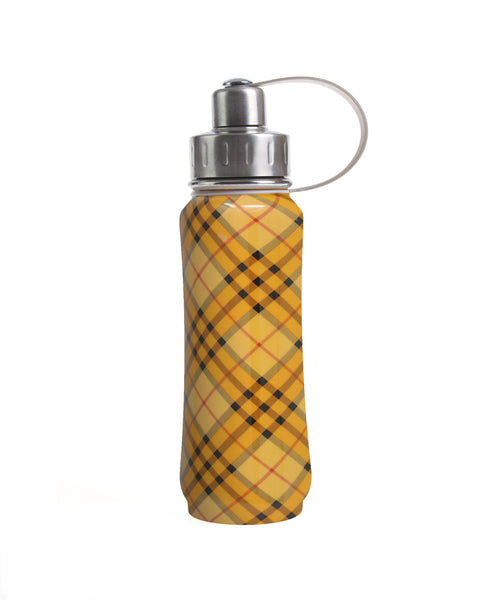500 ml Orange Retro Plaid insulated vacuum stainless steel leak-proof water bottle carrying handle silver lid