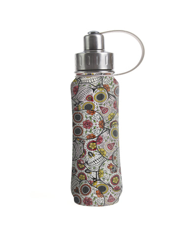 500 ml Silver Sugar Skulls insulated vacuum stainless steel leak-proof water bottle carrying handle silver lid