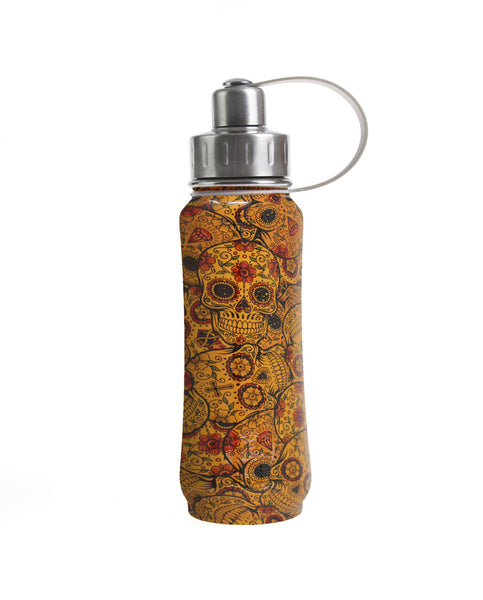 500 ml Orange Sugar Skulls insulated vacuum stainless steel leak-proof water bottle carrying handle silver lid