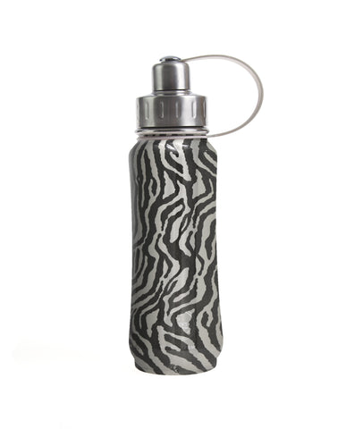 500 ml Silver Vegan Tiger Skin insulated vacuum stainless steel leak-proof water bottle carrying handle silver lid