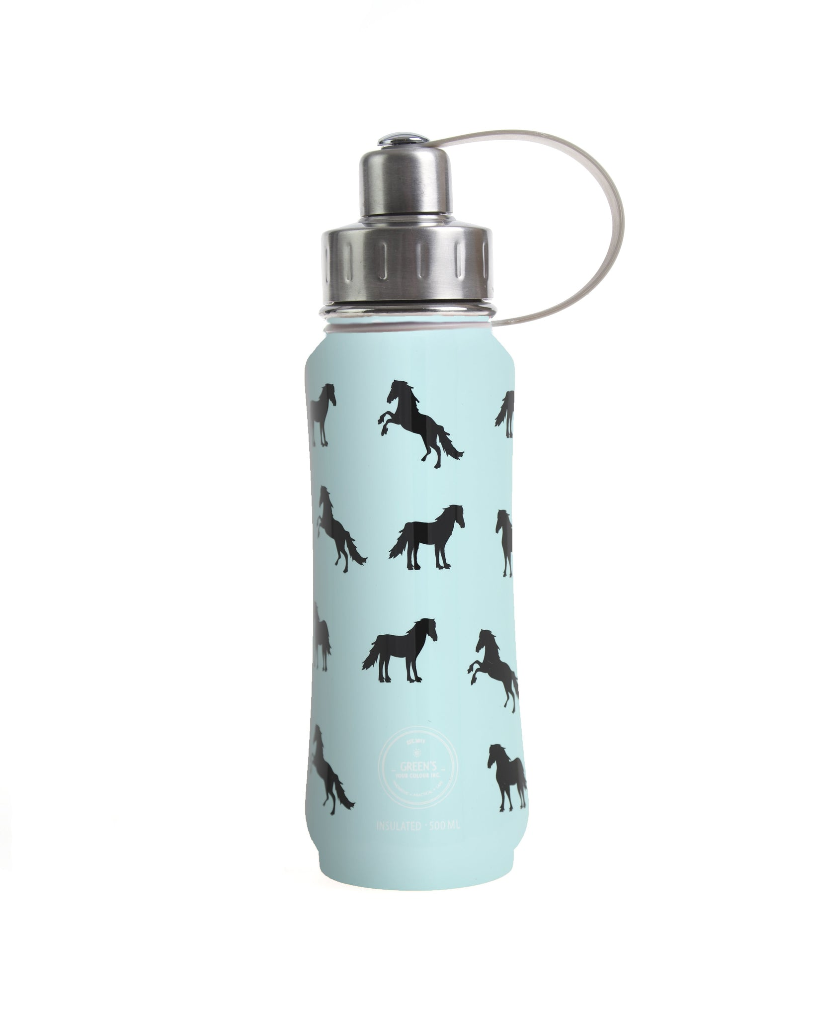 500 ml Teal Ultimate Horsey insulated vacuum stainless steel leak-proof water bottle carrying handle silver lid
