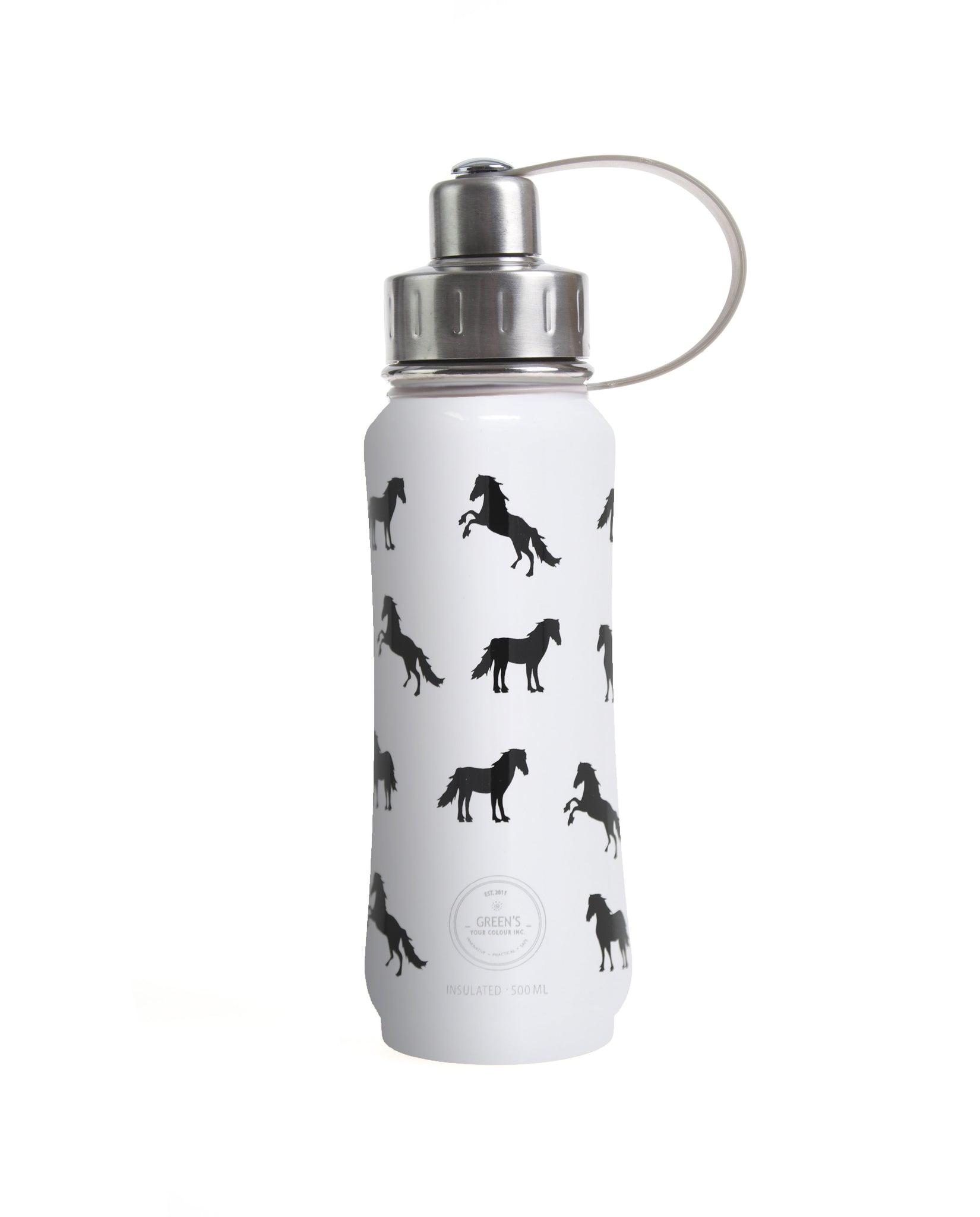 500 ml White Ultimate Horsey insulated vacuum stainless steel leak-proof water bottle carrying handle silver lid