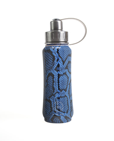 500 ml Blue Vegan Snakeskin insulated vacuum stainless steel leak-proof water bottle carrying handle silver lid