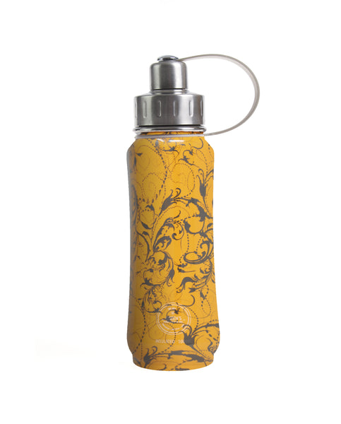 500 ml Orange Whirly Swirly insulated vacuum stainless steel leak-proof water bottle carrying handle silver lid