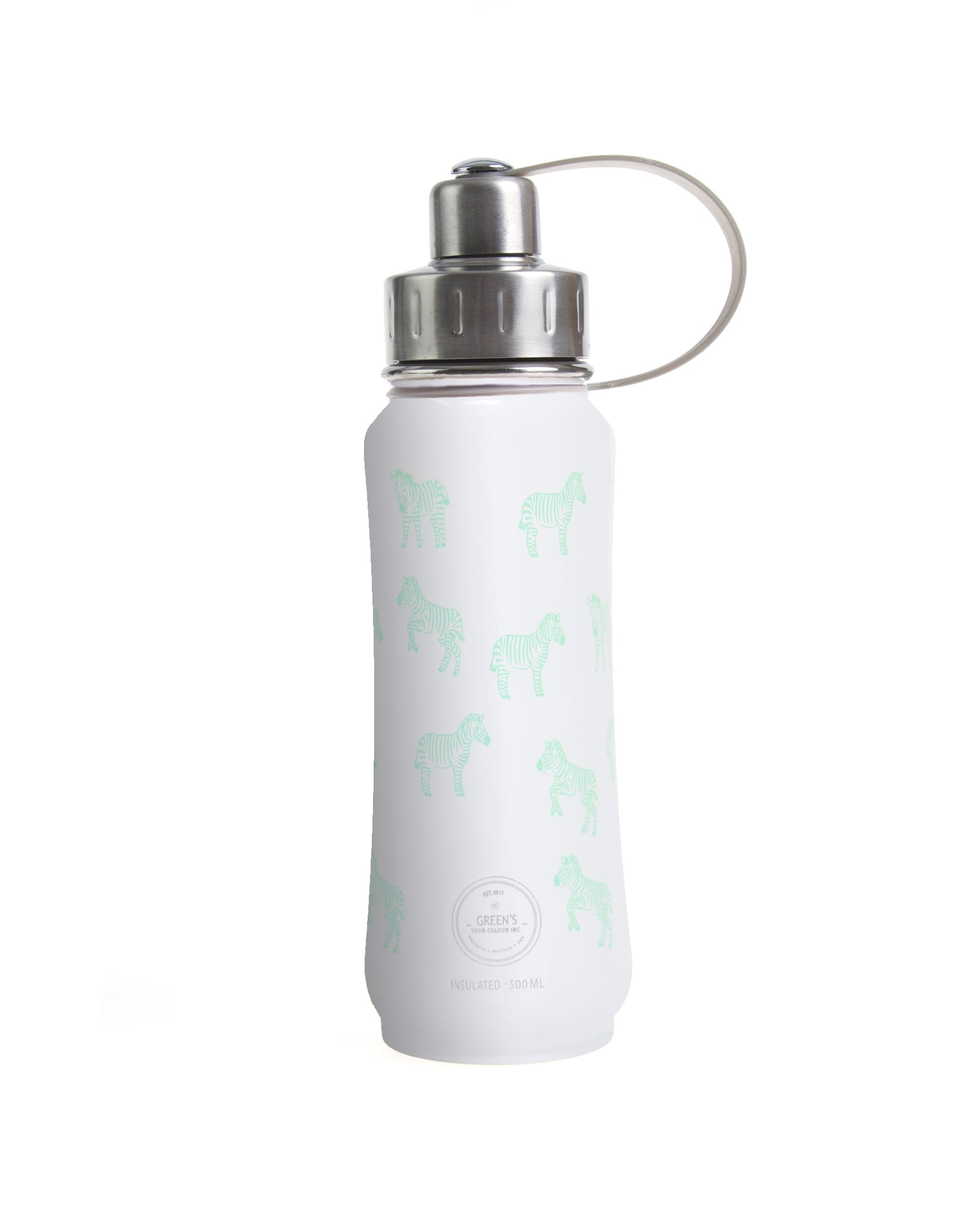 500 ml White Zippy Zebra insulated vacuum stainless steel leak-proof water bottle carrying handle silver lid, zebra bottle, animal bottle, cute bottles, stylish bottle, bottles for zoo, wholesale bottles, fun bottles, kids bottles, green's your colour, gyc bottle