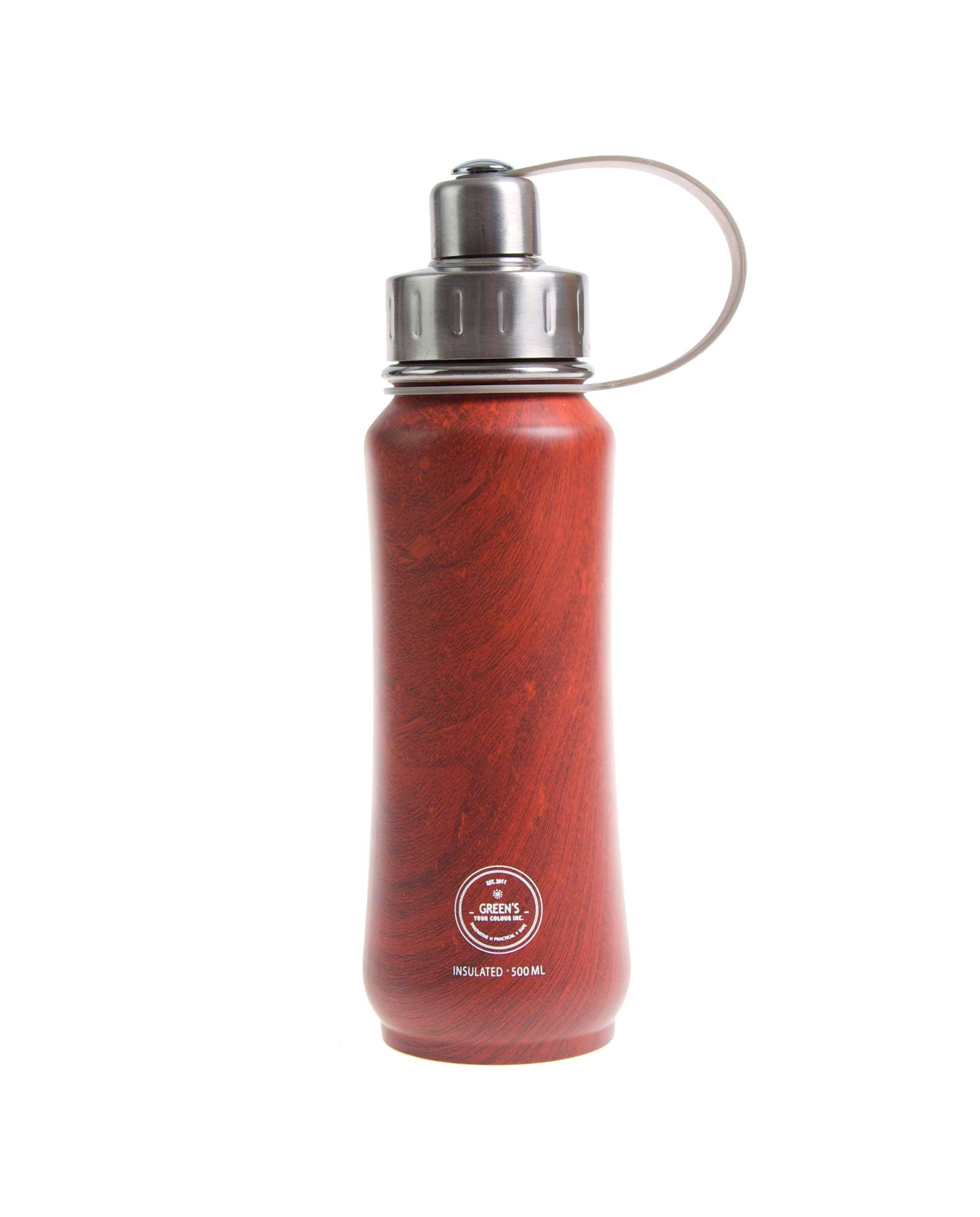500 ml Beaver Brown limited edition triple insulated vacuum stainless steel water bottle greens your colour silver lid wood bottles, water bottles, wood grain bottles, wood design bottles