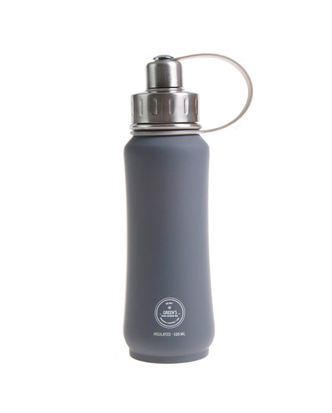 500 ml Dark Horse triple insulated vacuum stainless steel rubberized water bottle greens your colour silver lid