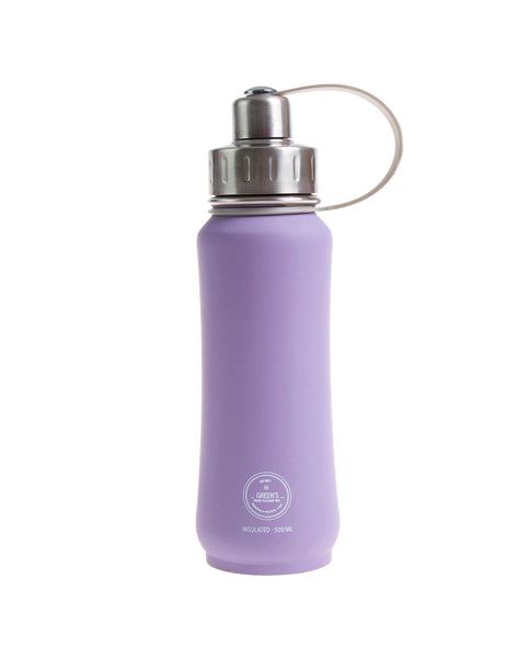 500 ml Lovely Lilac rubberized insulated vacuum stainless steel leak-proof water bottle silver lid