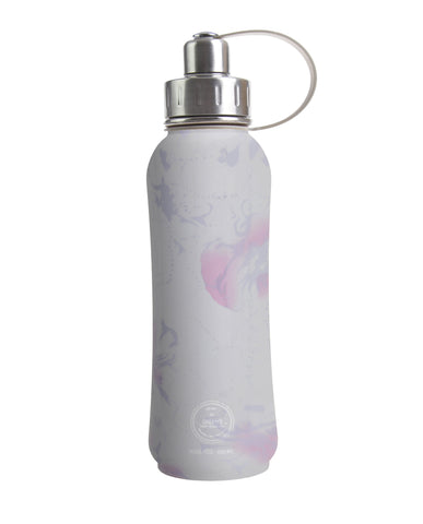 800 ml Grey Aloha Flower triple insulated vacuum stainless steel rubberized water bottle silver lid