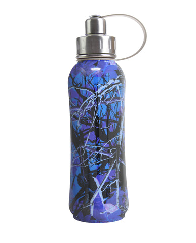 800 ml Blue Luxembourg Garden triple insulated vacuum stainless steel rubberized water bottle silver lid