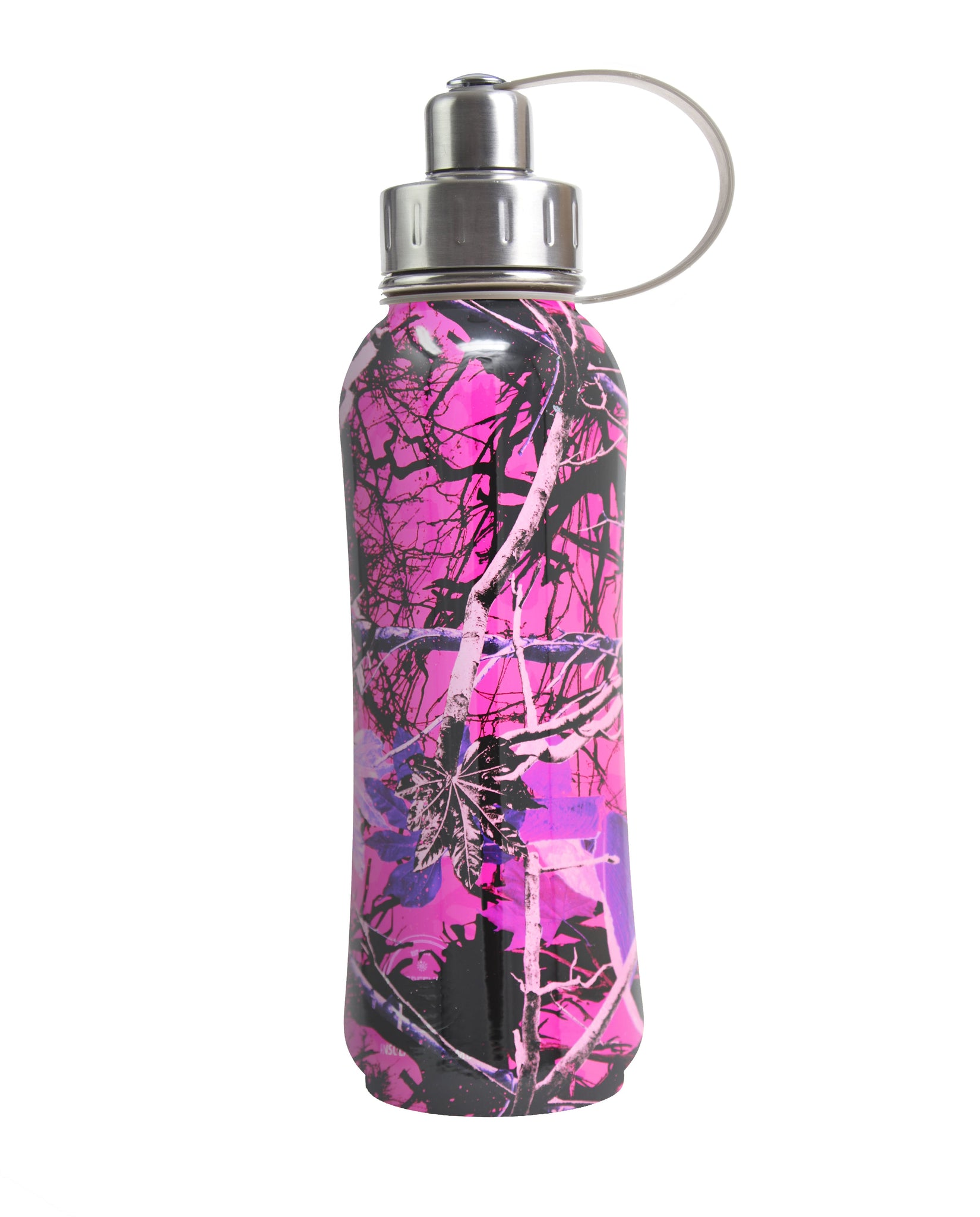800 ml Pink Luxembourg Garden triple insulated vacuum stainless steel rubberized water bottle silver lid