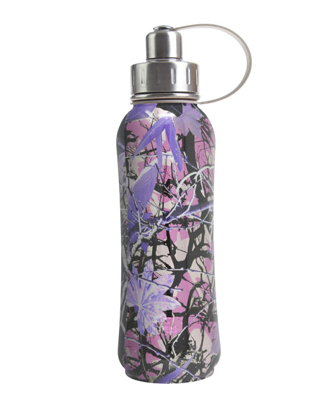 800 ml Purple Luxembourg Gardens triple insulated vacuum stainless steel rubberized water bottle silver lid