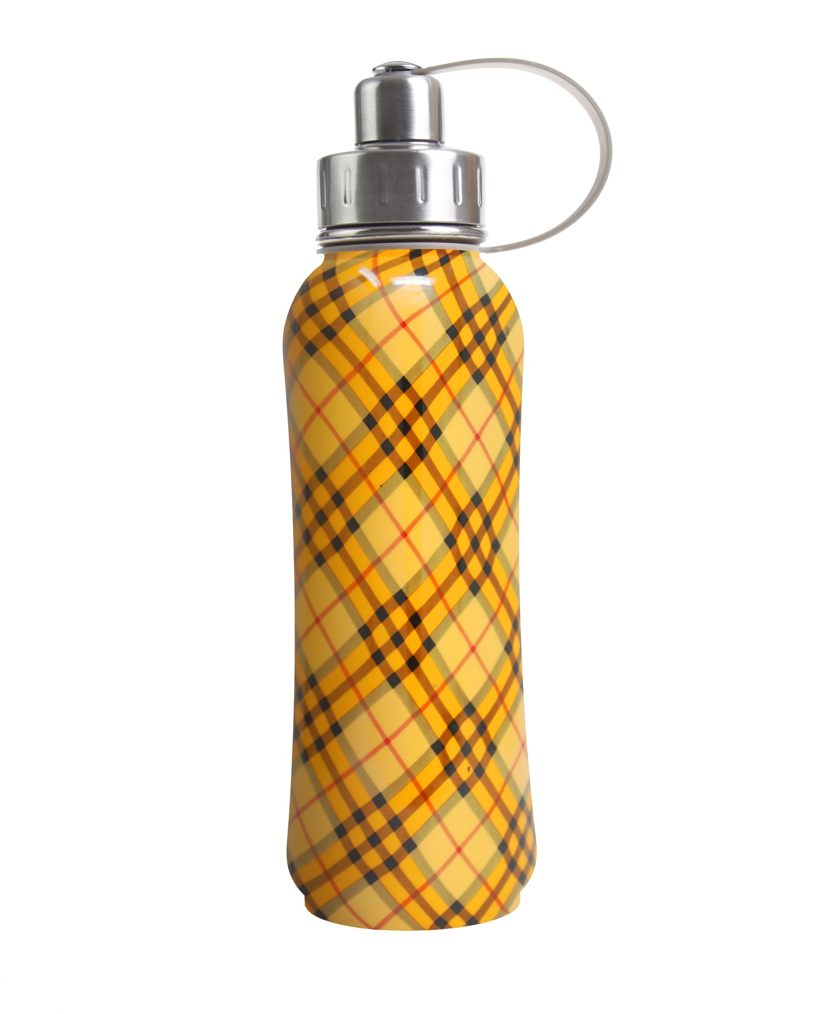 800 ml Orange Retro Plaid triple insulated vacuum stainless steel rubberized water bottle silver lid