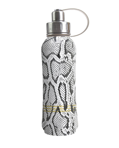 800 ml White Vegan Snakeskin triple insulated vacuum stainless steel rubberized water bottle silver lid