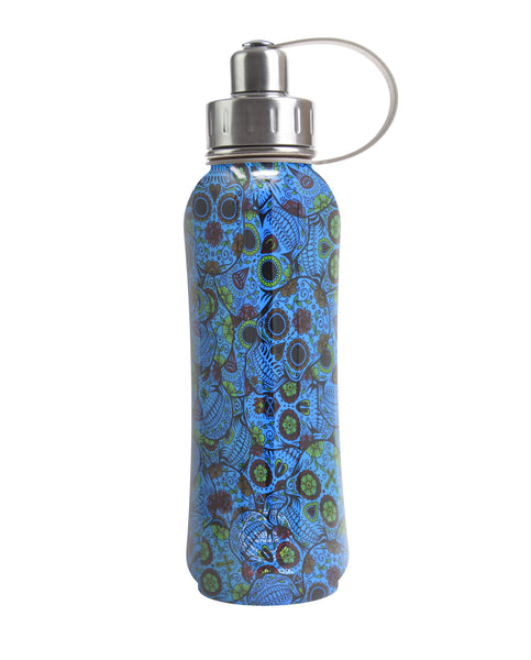 800 ml Blue Sugar Skulls triple insulated vacuum stainless steel rubberized water bottle silver lid