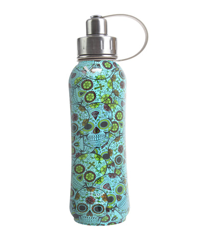 800 ml Jade Sugar Skulls triple insulated vacuum stainless steel rubberized water bottle silver lid