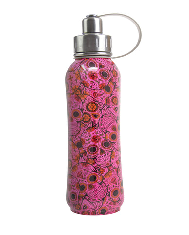 800 ml Pink Sugar Skulls triple insulated vacuum stainless steel rubberized water bottle silver lid, green's your colour bottles, Mexican sugar skulls,  cute bottles, stylish bottles