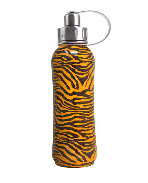800 ml Orange Vegan Tiger Skin triple insulated vacuum stainless steel rubberized water bottle silver lid