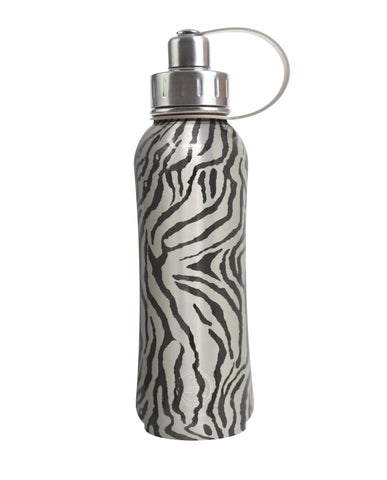 800 ml Silver Vegan Tiger Skin triple insulated vacuum stainless steel rubberized water bottle silver lid
