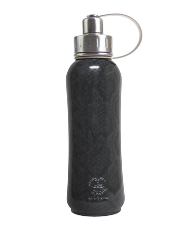 800 ml Black Vegan Snakeskin triple insulated vacuum stainless steel rubberized water bottle silver lid
