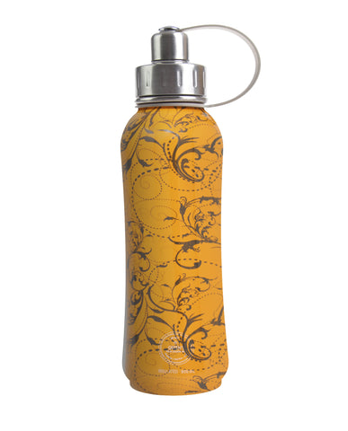 800 ml Orange Whirly Swirly triple insulated vacuum stainless steel rubberized water bottle silver lid