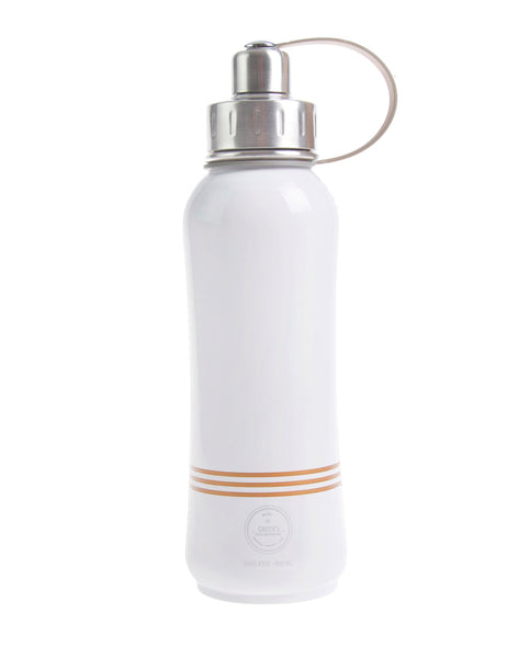 800 ml Champaigne Bliss leak-proof triple insulated vacuum stainless steel water bottle silver lid stripes front