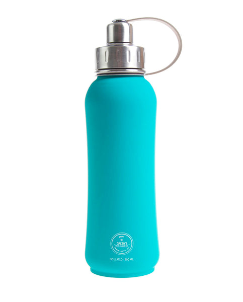 800 ml 'Jammin' Jade' triple insulated vacuum stainless steel leak-proof water bottle silver lid
