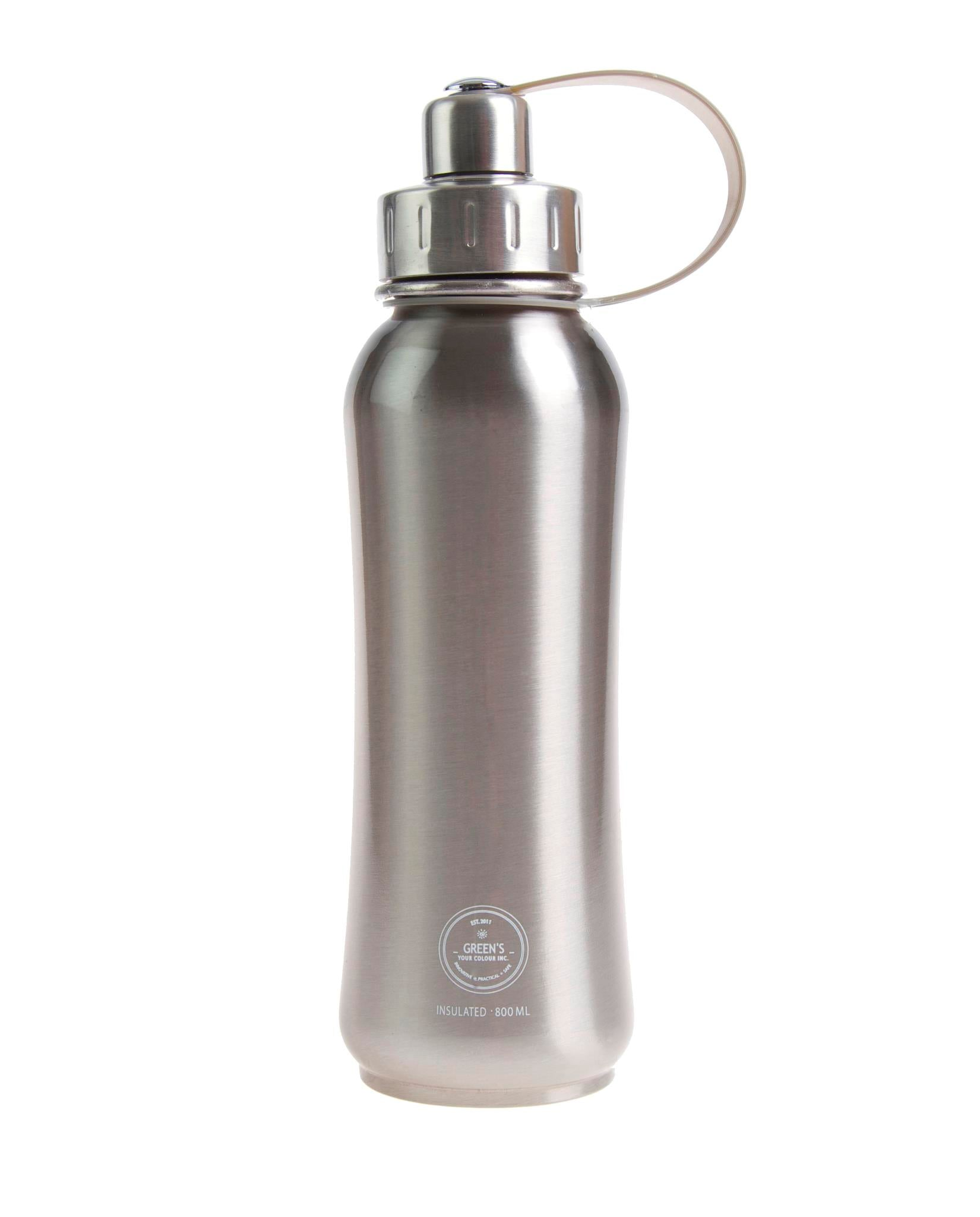 800 ml Tin Man triple insulated vacuum stainless steel water bottle silver lid