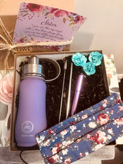 SUSTAINABLE GIFT KIT- 350ML 'LOVELY LILAC' BOTTLE, LILAC TELESCOPIC STRAW/BRUSH, PURPLE FACE MASK
