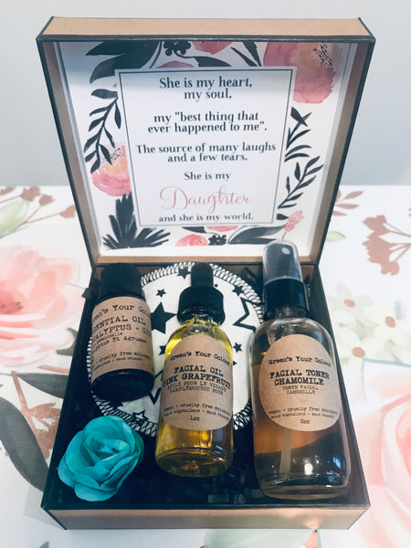 SUSTAINABLE SKINCARE GIFT KIT- VEGAN FACE TONER, FACE OIL, EUCALYPTUS + CITRUS ESSENTIAL OIL, ORGANIC BAMBOO TERRY FACE PAD
