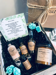 SUSTAINABLE SKINCARE GIFT KIT- VEGAN FACE TONER, FACE OIL, FACE MASK, EUCALYPTUS + CITRUS ESSENTIAL OIL, NATURAL CITRUS BODY BUTTER, ORGANIC BAMBOO TERRY FACE PAD