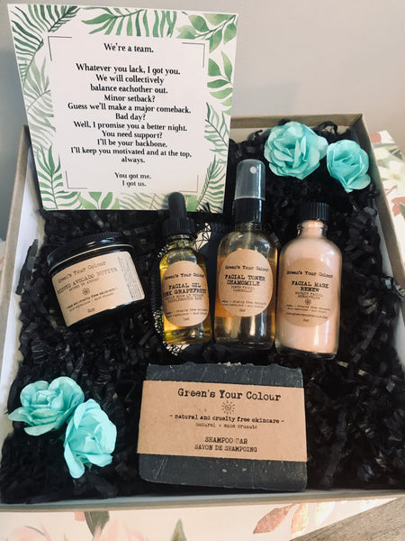 SUSTAINABLE SKINCARE GIFT KIT- FACE TONER, FACE OIL, FACE MASK, FACE CREAM, SHAMPOO BAR, ORGANIC BAMBOO TERRY FACE PAD