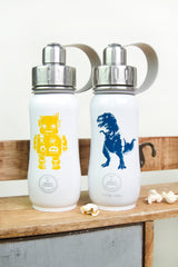 350 ML SMALL STAINLESS STEEL INSULATED WATER BOTTLE FOR KIDS WITH ROBOT AND DINOSAUR DESIGN. LEAK PROOF, SWEAT PROOF, EASY TO CLEAN. CARRY HANDLE AND SMALL DRINKING SPOUT. CANADIAN SUSTAINABLE BRAND, CANADIAN WATER BOTTLE, CANADIAN LEADER OF WATER BOTTLES