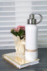 800 ml Champaigne Bliss leak-proof triple insulated vacuum stainless steel water bottle silver lid stripes front, bottles, water bottles, stylish bottles, cute bottles, thermal bottles, insulated bottles, hot and cold bottles, classy bottles, bottles with handles, bottles with strainers, bottles for tea, bottles for smoothies, coffee bottle, wine bottle, Canadian bottle companie, bottle businesses, sustainable bottle