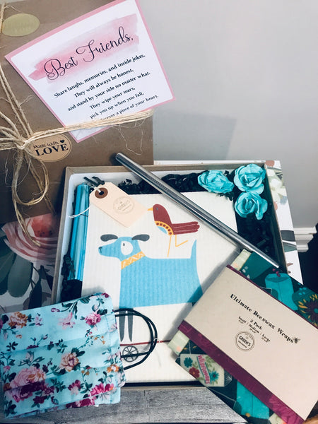 SUSTAINABLE GIFT KIT- BEESWAX WRAPS, BLUE TELESCOPIC STRAW/BRUSH, BLUE FACE MASK, REUSABLE SMOOTHIE STRAW, ECO DISHCLOTH