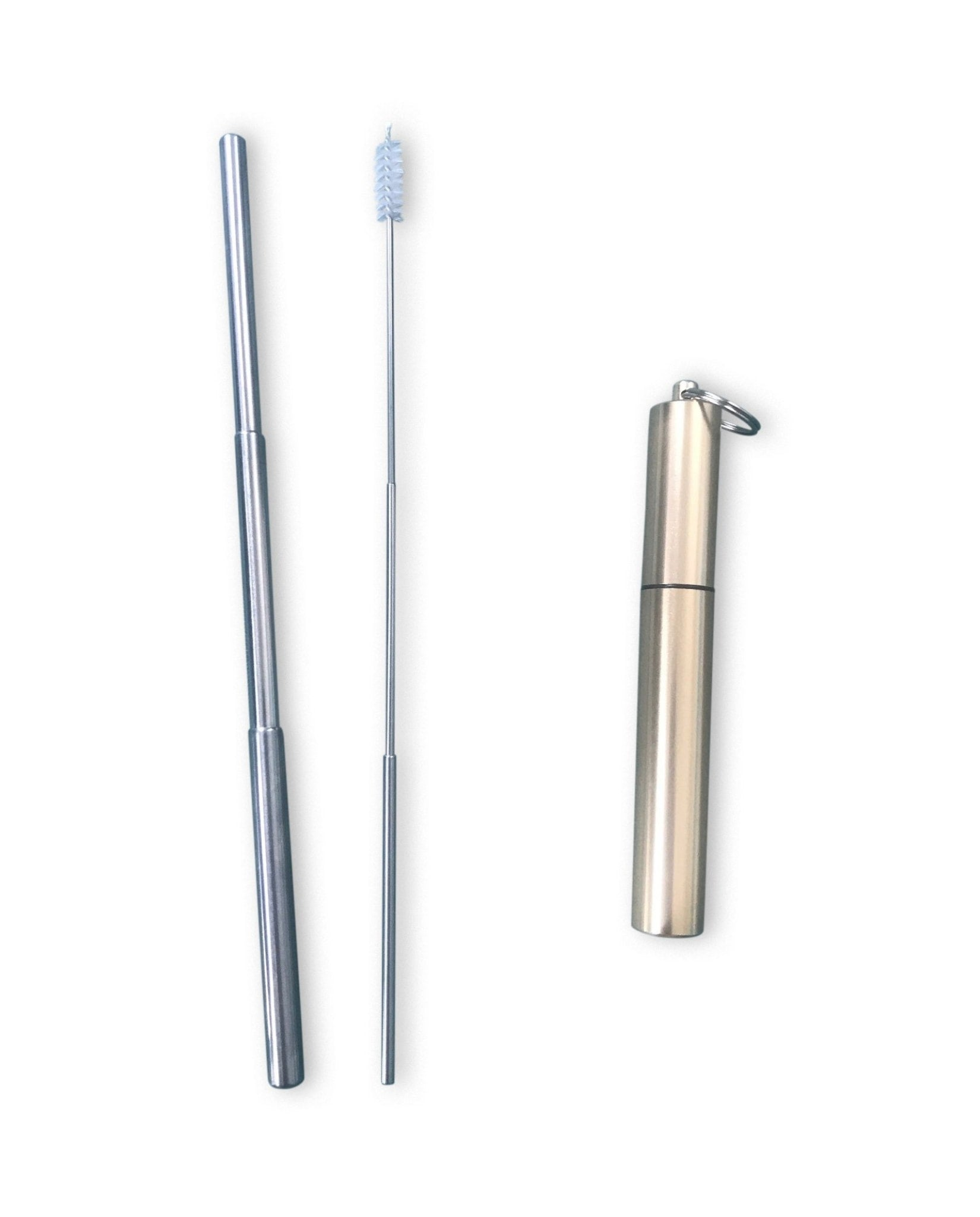 Telescopic S/S Straw + Cleaning Brush Kit Gold