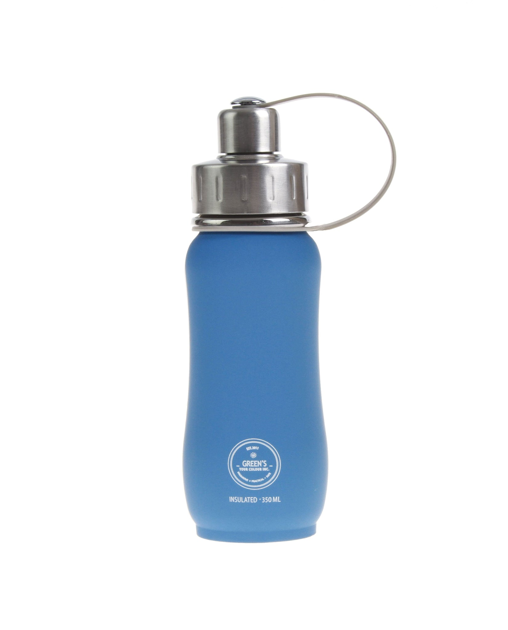 350 ml 'Electric Blue' triple insulated vacuum stainless steel water bottle greens your colour