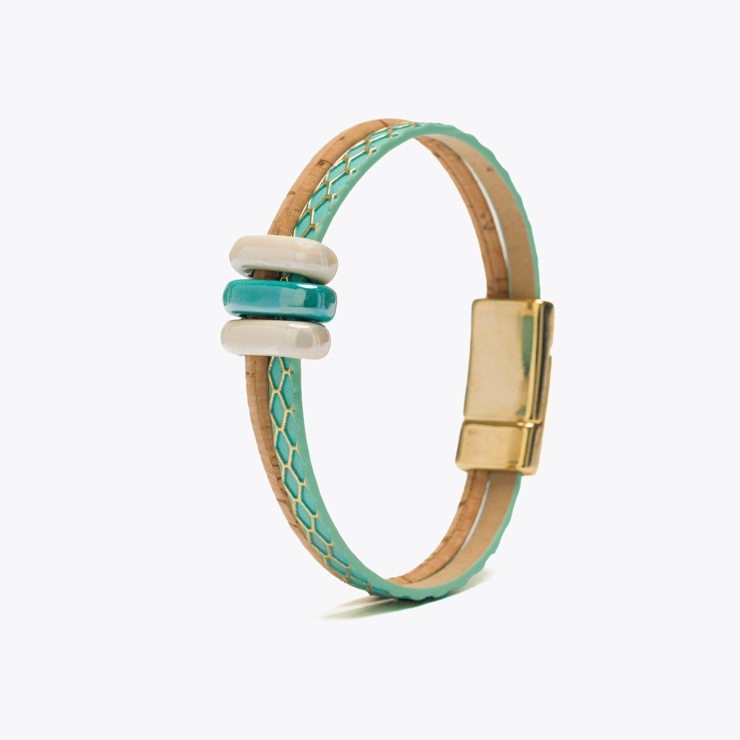 Cork Bracelet with Teal Blue Ribbon and Ceramic