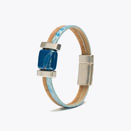 Cork Bracelet with Blue Ribbon and Ceramic
