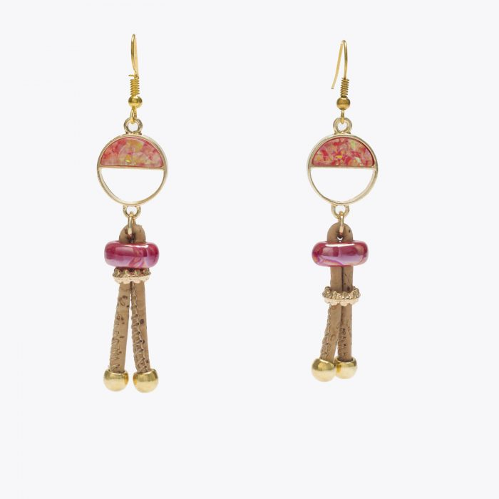 Cork Pink and Gold Half Circle Earrings