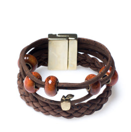 Brown Braided Cork Bracelet - HowCork