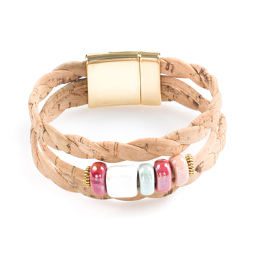 Art for the Cure Pastel Ceramics Cork Bracelet | HowCork - The Cork Marketplace