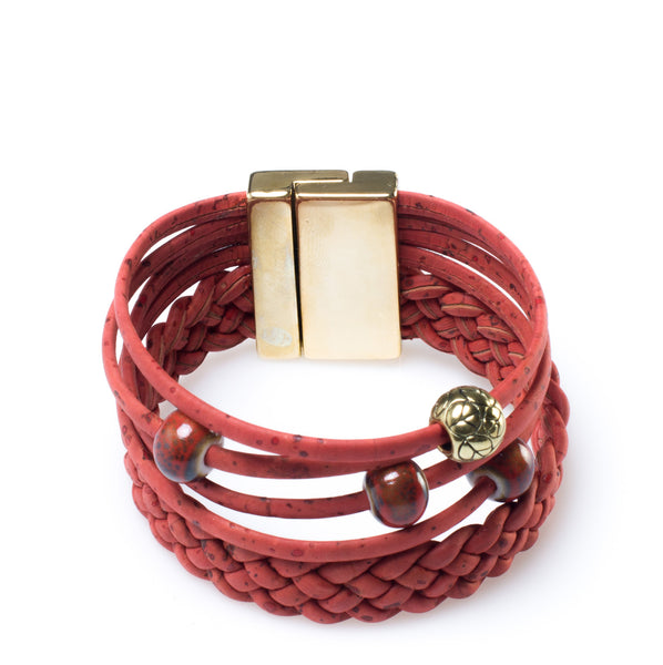 Red Braided Cork Bracelet - HowCork