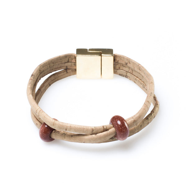 Red Bead Cork Bracelet - HowCork
