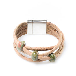 Green Beaded Cork Bracelet - HowCork