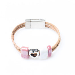 Art for the Cure White and Pink Heart Bracelet | HowCork - The Cork Marketplace